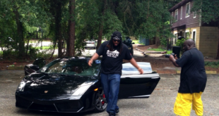 "DjX performs around the Lamborghini Gallardo that he rented in Linton Oaks on Sunday for the music video of his single ""Maxed Out."""