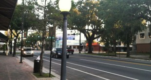 Phase I for Main Street Streetscape has already commenced in downtown Gainesville. This is one of the many light poles that will be replaced with an LED light in an effort to make Main Street and downtown Gainesville as a whole more lit and safe for families and students.