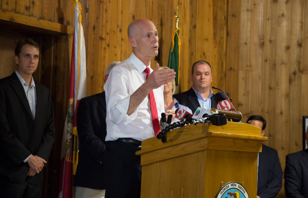 Gov. Rick Scott making his investment announcement Wednesday at Wekiwa Springs State Park in Apopka.