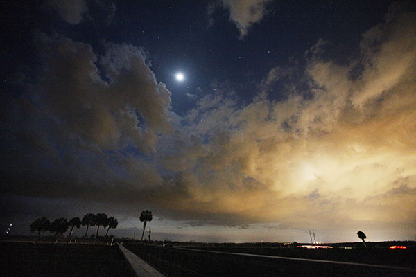 The moon rises above the Payne's Prairie boardwalk. Payne's Prairie is one of many locations in Gainesville and throughout the state that could benefit from the Florida Water and Land Legacy Campaign.