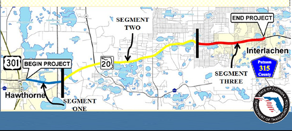This map shows the projection of the 12.2-mile segment of State Road 20, the last installment in a three-part project to connect Interlachen and Hawthorne.