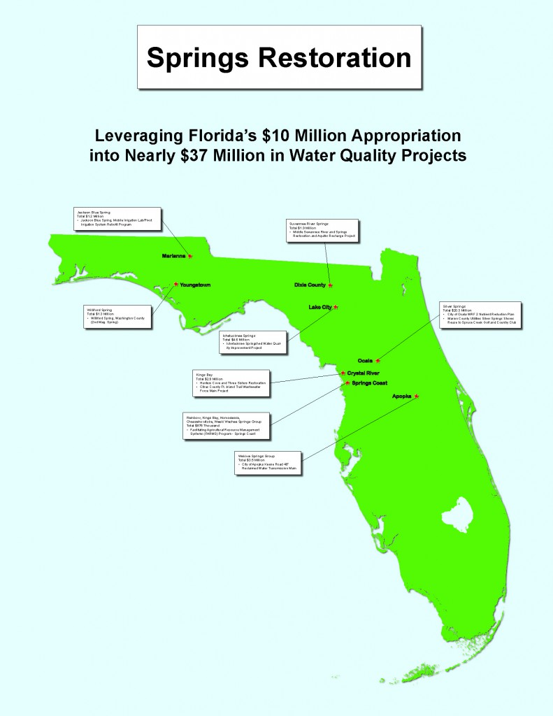 A map of the springs restoration projects Gov. Scott pledged to invest $37 million at a press conference on Sept. 4 at Wekiwa Springs State Park.