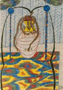 """The Beast,"" one of Hinkle's colored pencil drawings illustrating her experience with fibro"