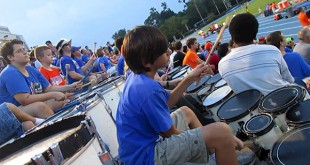 Tobin Wagstaff and the University of Florida Gators' Soccer Drum Line perform at Pressly Stadium on August 30. Wagstaff's music students gather to cheer for the team at every home game.