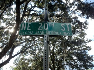 Northeast 20th Street, which borders Charles W. Duval Elementary School, has been dedicated to Gloria Jean Merriex since her 2008 death. Merriex was influential in turning around the school's academic performance.