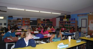 Students attend classes at St. Gerards Campus. Aside from the regular school curriculum, the school teaches additional classes on how to take care of babies and budget finances.