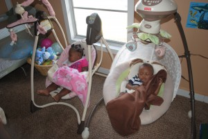 Students' babies are watched over at the nursery while their mothers attend classes at St. Gerards Campus.  On-site babysitting is one of the services offered at the school.