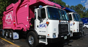 """""""Pinkie,"""" added in honor of National Breast Cancer Awareness Month, is one of the new natural compressed gas refuse vehicles that was recently added to Gainesville WCA's fleet of vehicles."""