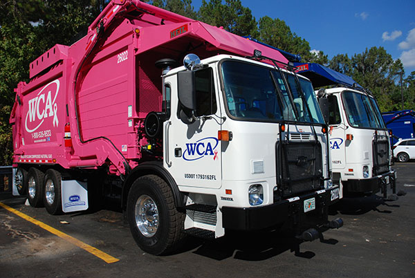 """Pinkie,"" added in honor of National Breast Cancer Awareness Month, is one of the new natural compressed gas refuse vehicles that was recently added to Gainesville WCA's fleet of vehicles."