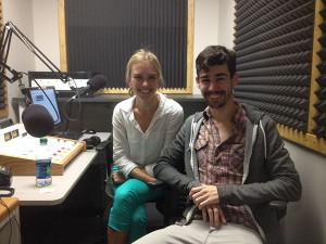 Hippodrome actor Logan Wolfe in a WUFT studio with reporter Sarah Daly.