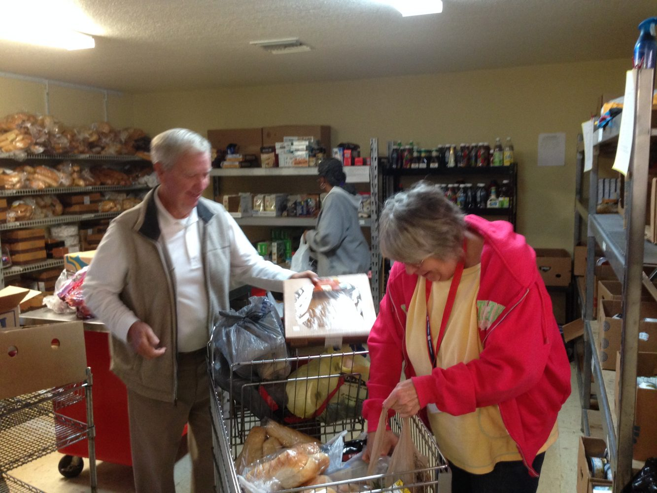 Volunteers at Interfaith, who are concerned about the food bank going bare.