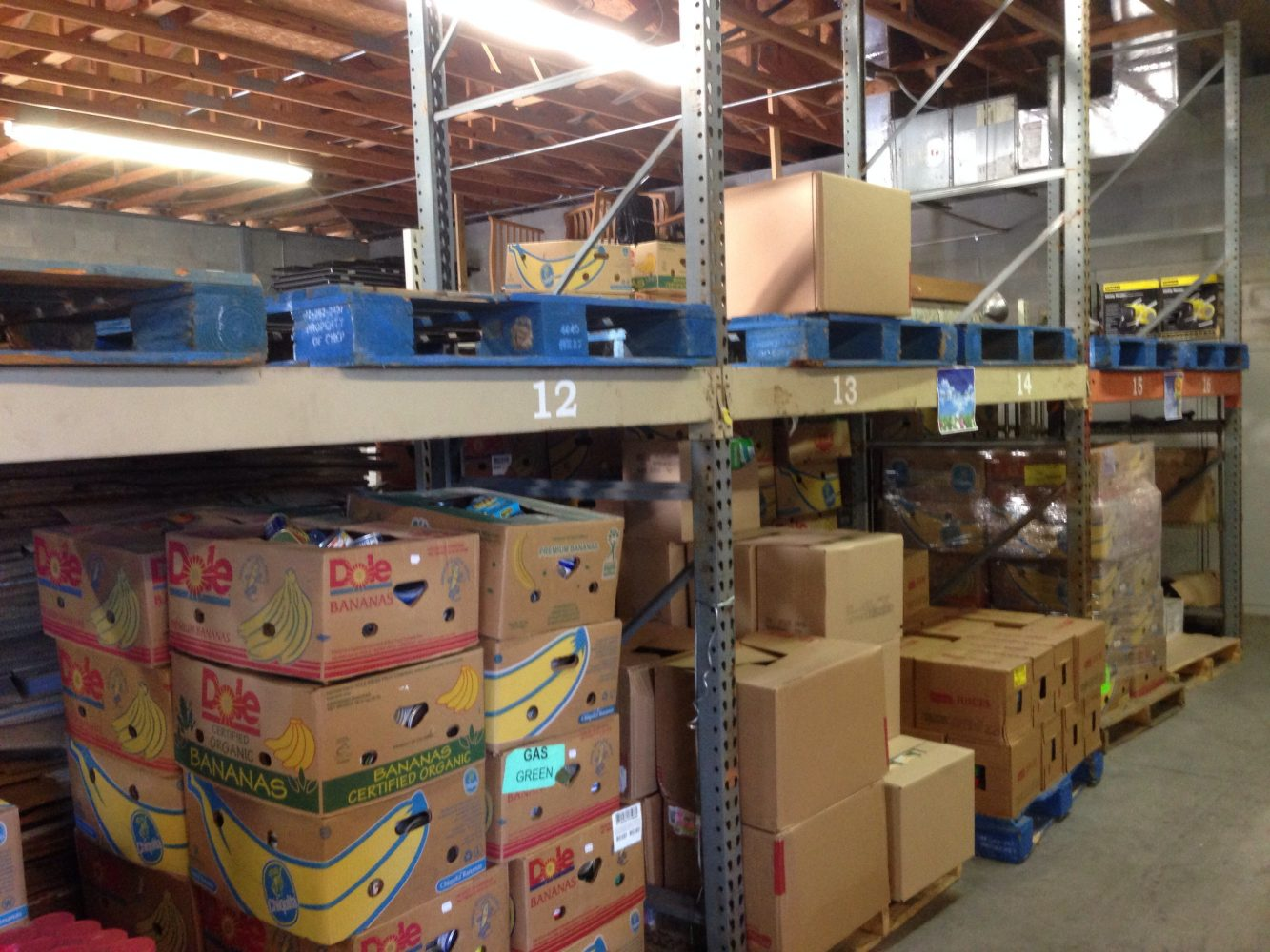 View of Interfaith's warehouse, where the top level is completely bare.