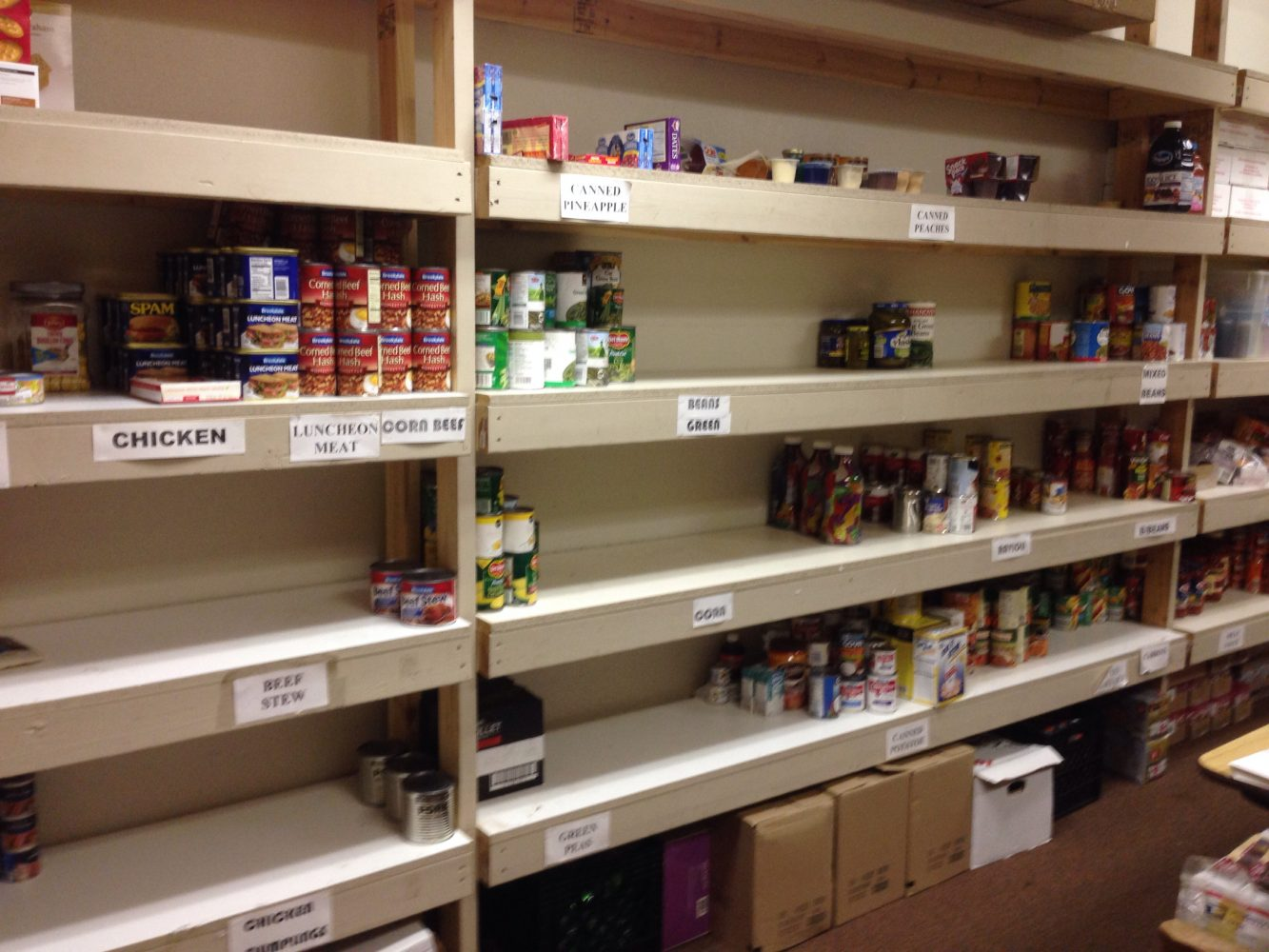 A view of bare shelves at the Marion County Salvation Army food bank.