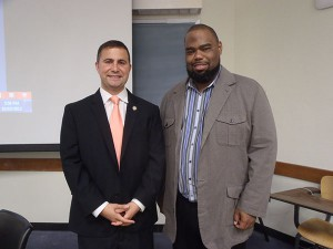 Sens. Darren Soto, left, and Dwight Bullard, right, rallied support for tuition equity at an immigration reform symposium Thursday evening at the University of Florida.
