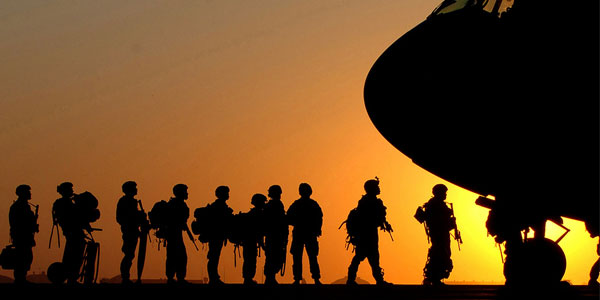 WWII Airborne soldiers at sunset