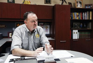 Sheriff Gordon Smith talks Tuesday at the Bradford County Sheriff's Office about Hampton Mayor Barry Moore's arrest.