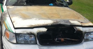 A Marion County Sheriff car, burned by an arsonist believed to be targeting law enforcement.