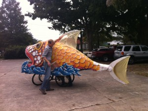 Last year, Rawls made a fish float from repurposed trash. He says he hopes to design one homecoming float a year.