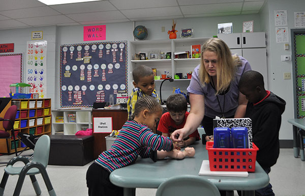 Amanda Reid, a Kindergarten teacher at William D. Moseley Elementary School in Palatka has been increasing her steps since starting the pedometer challenge. She said it creates great moral amongst the staff and she finds herself walking a lot more now.