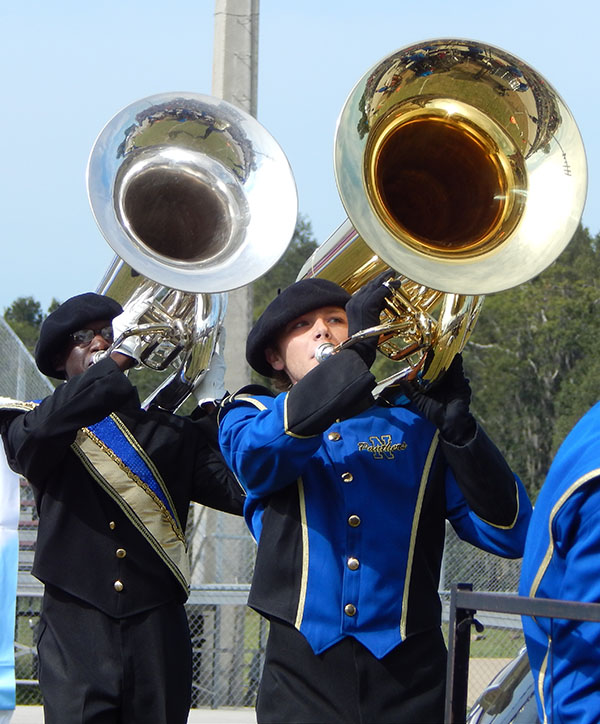 Austin Montjoy (left) and Sean Crow, are both senior tuba players in the NHS Band of Pride.