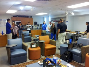During an open house at the Veteran's Success Center at the University of Florida, student veterans hang out and study together. The center opened in April. It houses counseling services, as well as a Veteran's Service officer to help students understand their claims benefits.