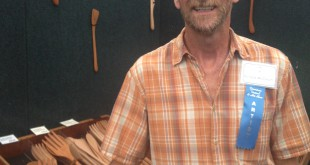 Artist Richard McCollum with his handmade wood kitchen utensils.