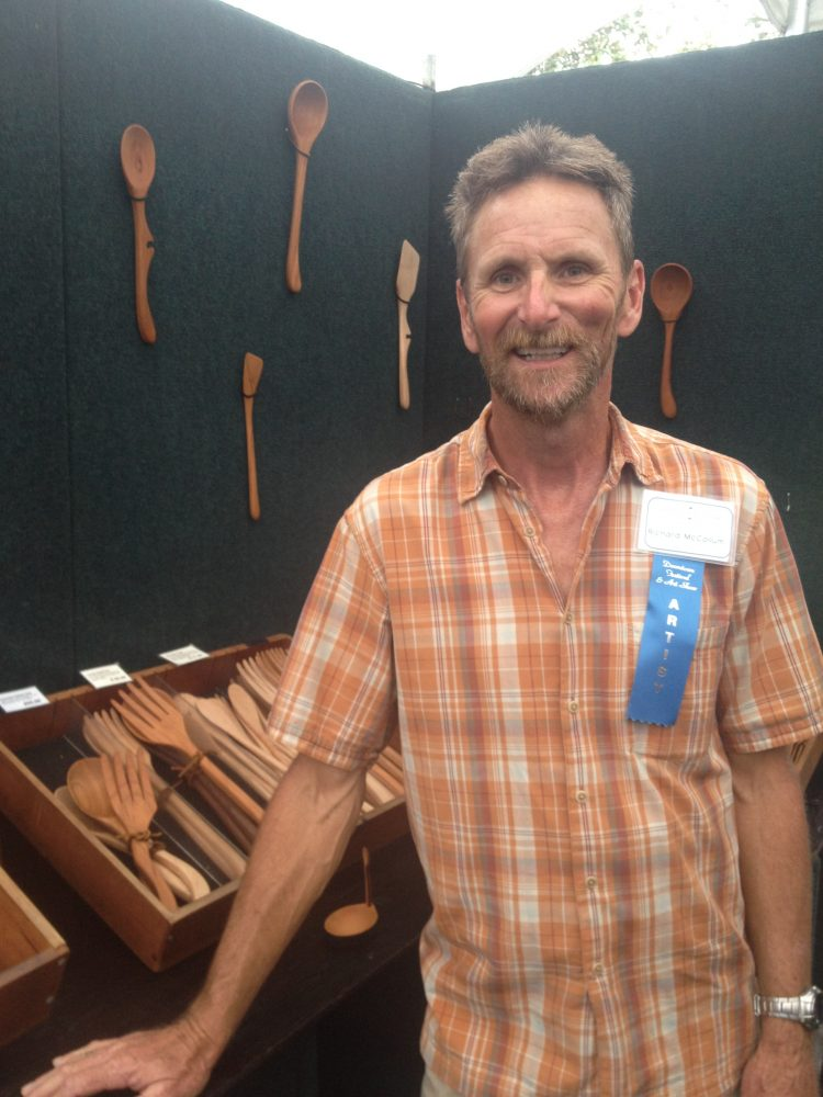 Artist Richard McCollum with his handmade wood kitchen utensils.