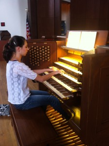 UF student MIchelle Klima plays the University Auditorium organ.