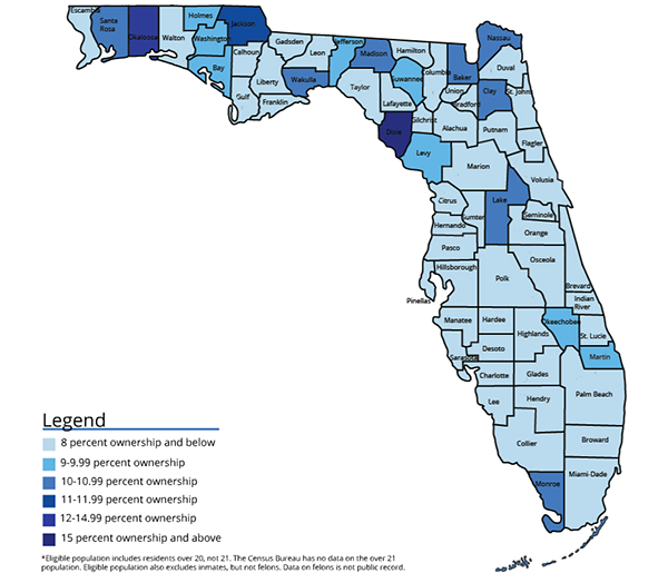Use desktop computer for best results: Click the image for an interactive. Roll over each county to see data on the percent of permit holders in the county, its total population, total eligible population and total number of permits owned.