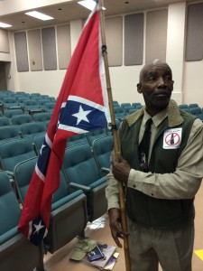 H.K. Edgerton with his Confederate flag
