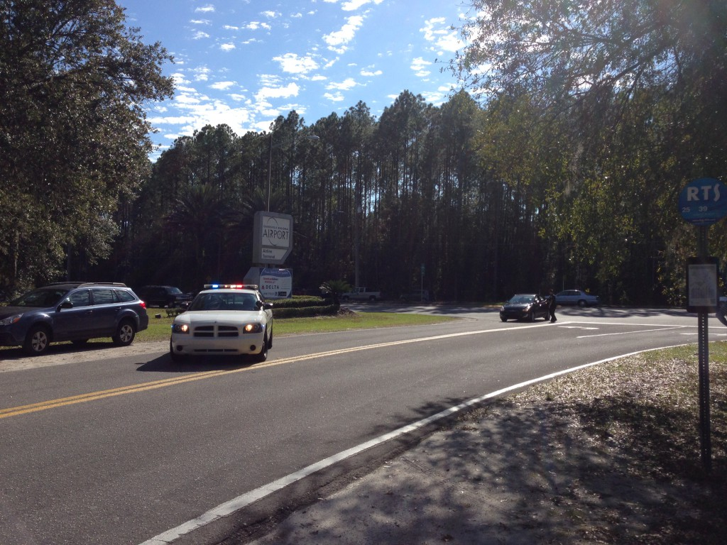 The Gainesville Regional Airport was shut down this afternoon after Gainesville Police responded to a bomb threat called in to a rental car agency.