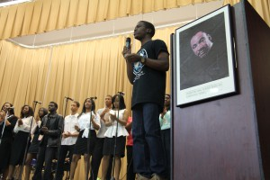 Pastor David Richard leads Eastside High School gospel choir at the Jan. 20 event.