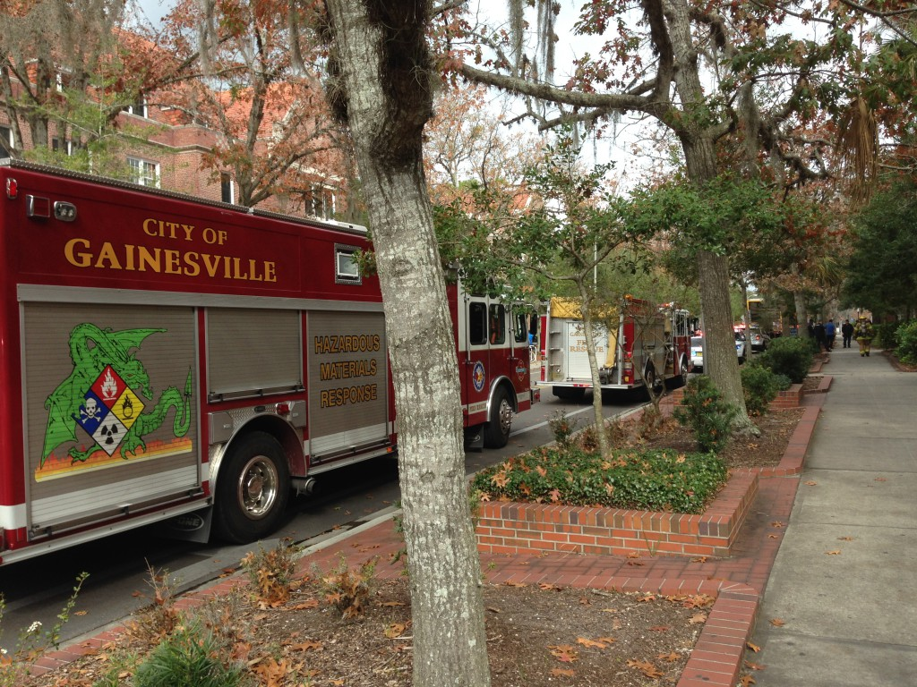 Gainesville Fire Rescue responded to a minor gas leak situation in Leigh Hall Tuesday morning. No injuries have been reported.