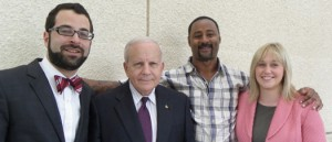 Cheydrick Britt (second from right) was the one exoneration in Florida in 2013. He is pictured with (from left) Charles Murray, lead counsel, Seth Miller and Melissa Montle, attorneys with the Innocence Project of Florida.