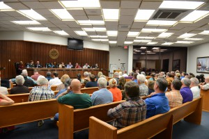 Councilmen begin a town hall meeting in The City of Live Oak on Tuesday, Feb. 25.