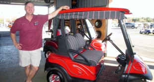 "Jayson Nobles, manager of Nobles Golf Carts, said that he prefers to drive a golf cart because it saves money on fuel. ""It's quieter, easier and more fun than a car,"" he said."