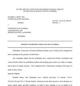 Motion to Dismiss for Lack of Standing