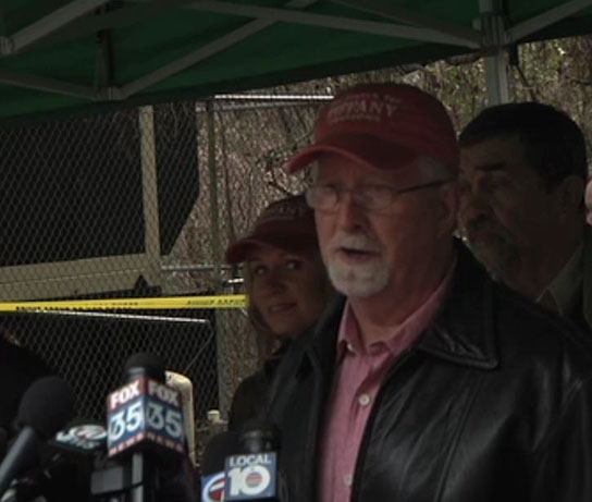 Pat Sessions, father of University of Florida student Tiffany L. Sessions, speaks near the site where investigators hoped to find her remains.