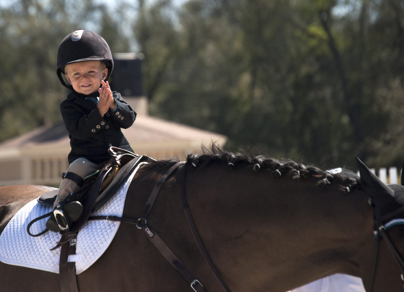 Edward F. Wilson, IV, 21-month-old son of Ocala trainer Kiera Wilson, participates in his first horse show, the Lead Line, during the fifth circuit of HITS in Ocala.