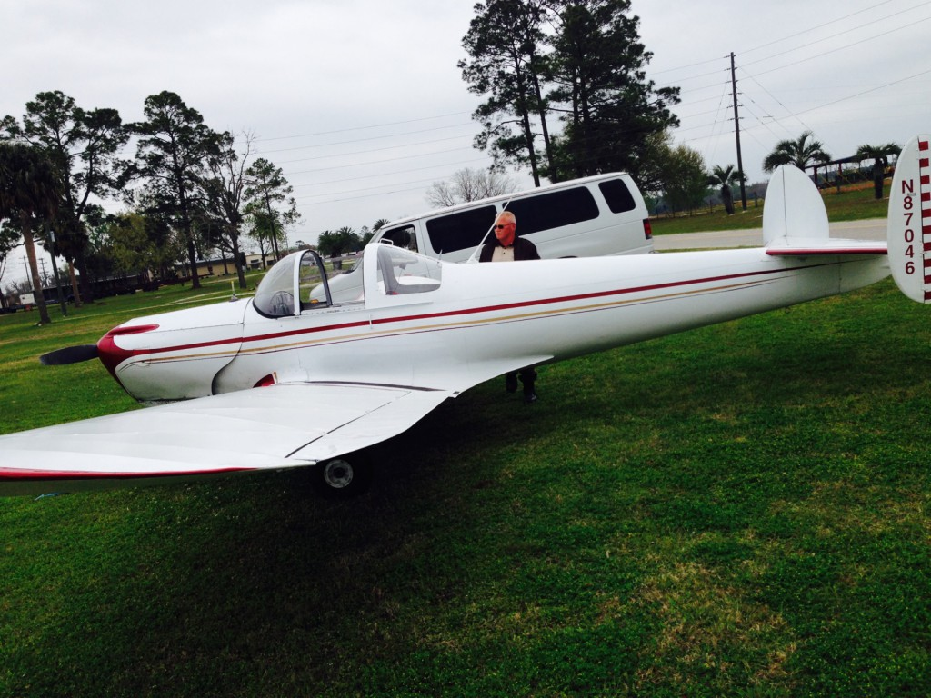 George Momberg and his 1946 Ercoupe 415C plane. Momberg landed on State Road 16 Monday after running low on fuel.