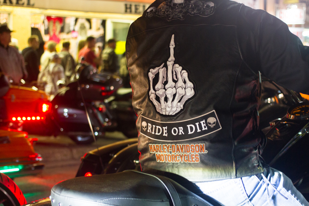 The back of a motorcycles rider's jacket is seen during the 73rd annual Bike Week in Daytona Beach on Friday, March 14.