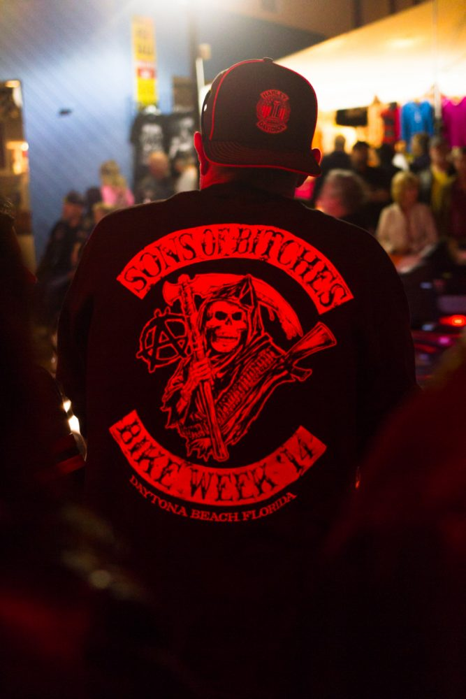 The back of a man's jacket is seen during the 73rd annual Bike Week in Daytona Beach on Friday, March 14.