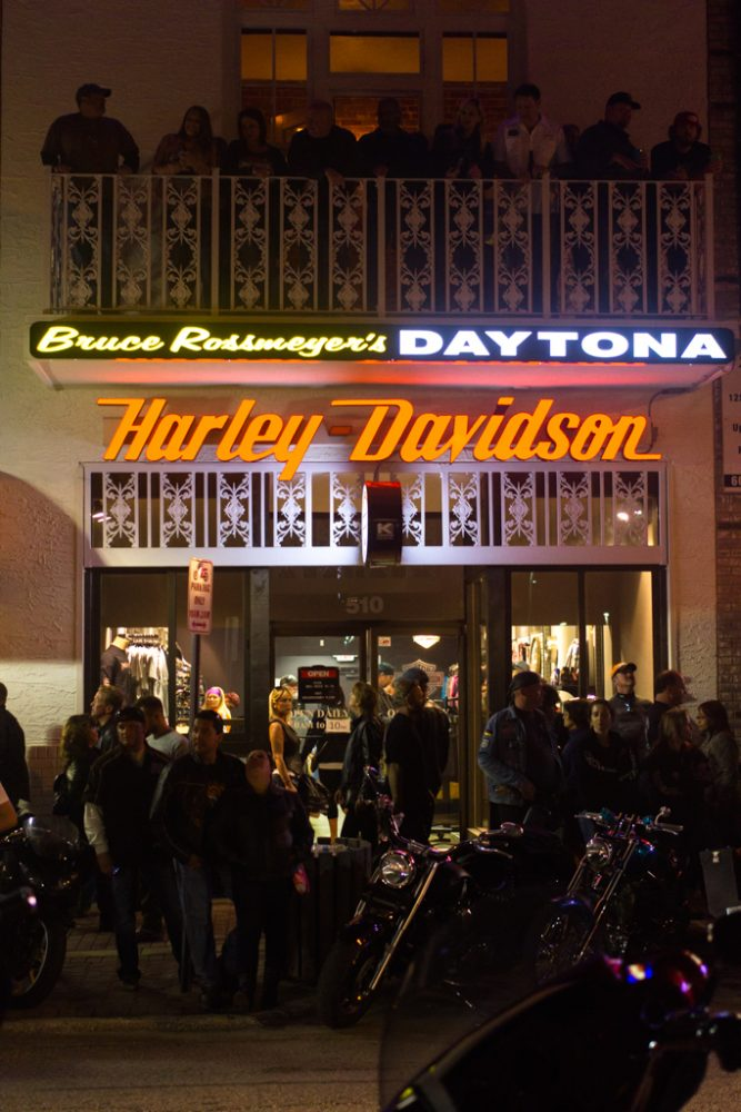 Crowds and motorcycles fill the streets outside of Bruce Rossmeyer's Daytona Harley-Davidson during the 73rd annual Bike Week in Daytona Beach on Friday, March 14.