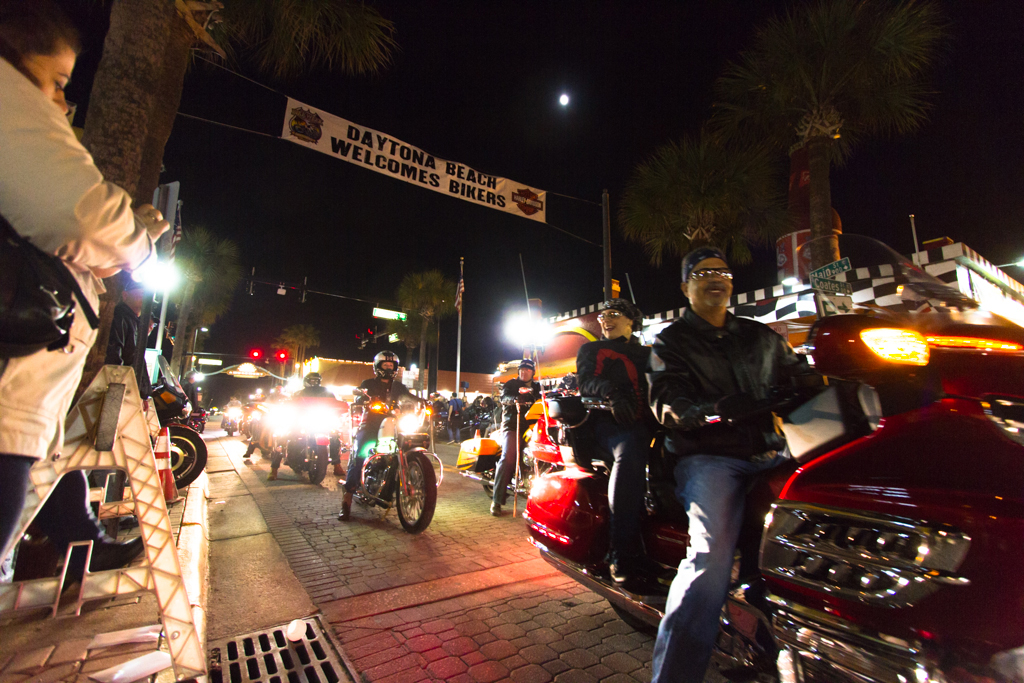 Motorcycle riders pass by on Main Street during the 73rd annual Bike Week in Daytona Beach on Friday, March 14.