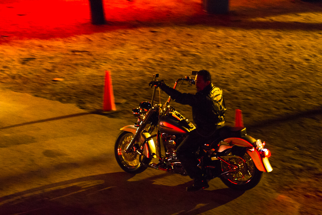A man leaves the Iron Horse Saloon on his motorcycle during the 73rd annual Bike Week on Saturday, March 15.