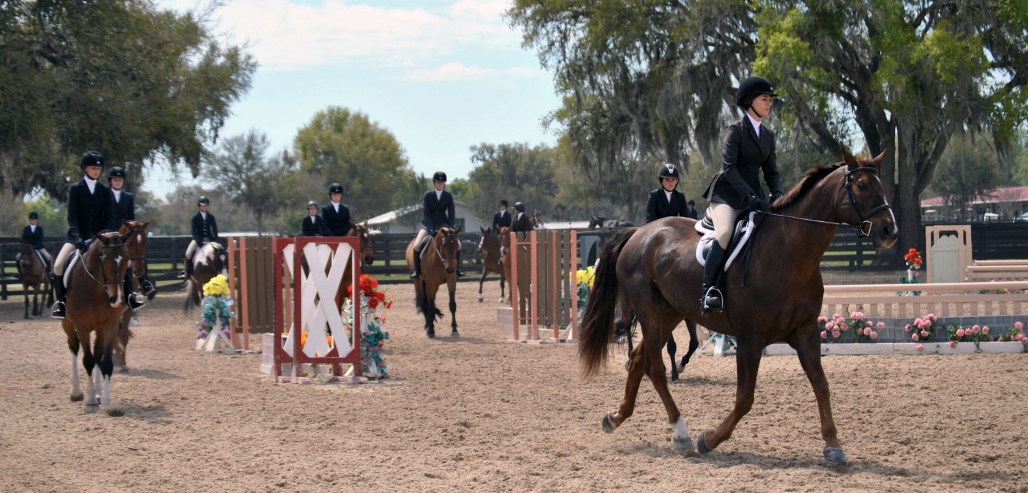 Participants make one final round after the Children's Hunter competition of HITS on Sunday before lining up to hear the announcer reveal the results.