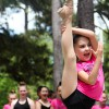 A younger member of the O2B Kids Fusion Dance Companyshows off her flexibility during a dance routine at the 3rd annual Duck
