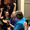 Helen Warren and her campaign team celebrate her win for Gainesville City Commission At-large Seat 2. Warren viewed the results at the Alachua County supervisor of elections office on Tuesday night.