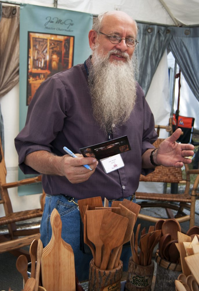 Jim McGie, an Appalachian craftsman, brought his woodwork from from Athens, Tenn., to the Santa Fe College Springs Arts Festival for the first time.