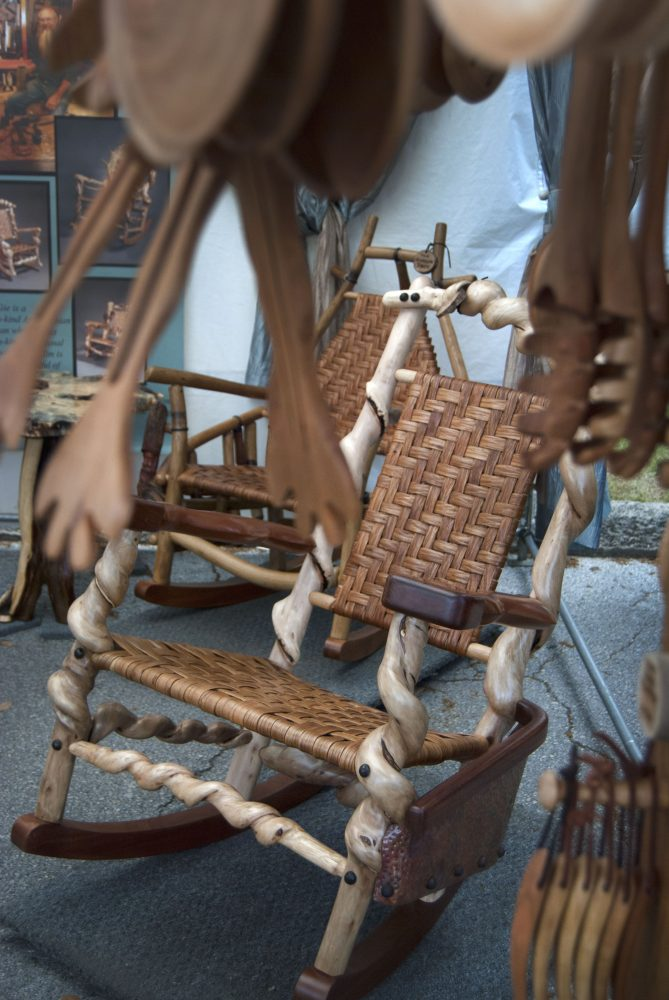 """McGie said he never makes two of the same rocking chairs. """"People who know my work know that they have the only one in the world."""""""